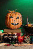 Detail photo of Scary halloween laboratory in green light — Stock Photo