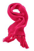 Pink knitted scarf isolated on white — ストック写真