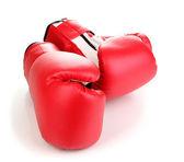 Rode bokshandschoenen geïsoleerd op wit — Stockfoto