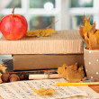 Autumnal composition with gift, books and leaves on bright background — Stock Photo #15525755