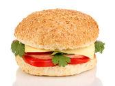 Beyaz izole iştah açıcı sandviç — Stok fotoğraf
