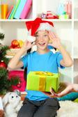 Christmas gift for little girl — Stock Photo