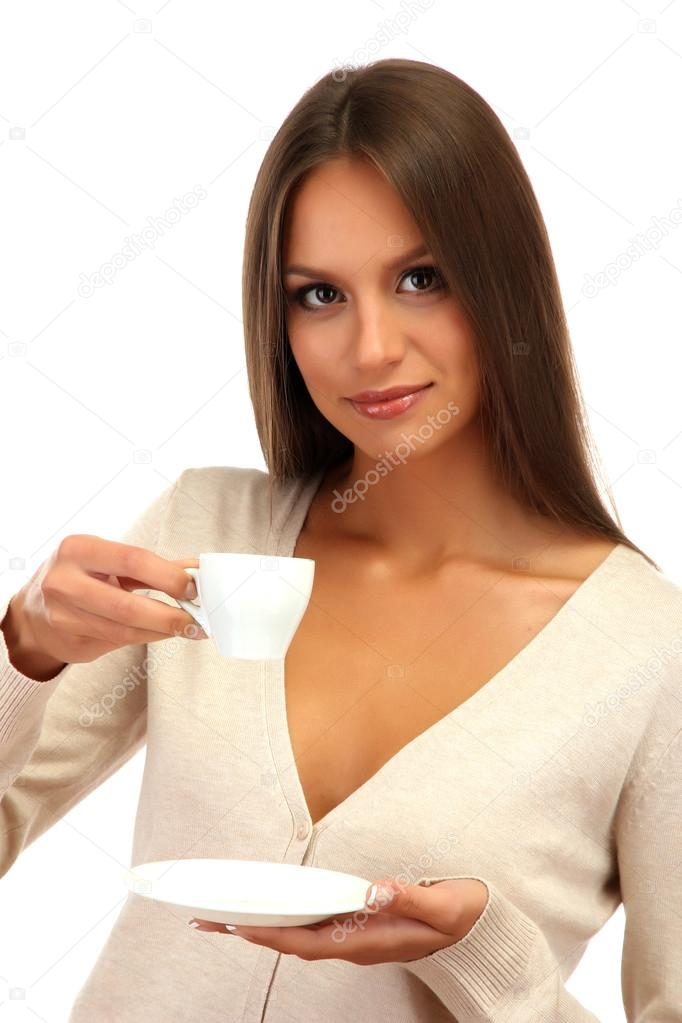 Beautiful young woman with cup of coffee, isolated on white  Stock Photo #15523923