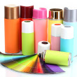 Aerosol cans and bright paper palette isolated on white — Stock Photo