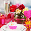 Royalty-Free Stock Photo: A delicious creamy dessert on celebratory table of Valentine\'s Day on room background