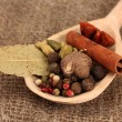 Nutmeg and other spices on sackcloth background - Photo