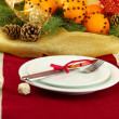 Beautiful christmas table setting with tangerines and fir tree, close up - Zdjęcie stockowe