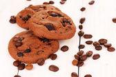 čokolády cookie na dřevěné pozadí — Stock fotografie