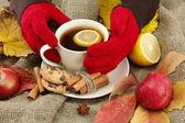 手牵杯热饮料和秋季的红叶麻布背景上 — 图库照片