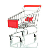 Lege winkelwagentje, geïsoleerd op wit — Stockfoto