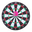 Darts with stickers depicting the life values isolated on white. The darts hit the target. — Stock Photo #15666065