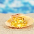 Fish oil in the shell in the sand on a blue background — Stock Photo #15668949