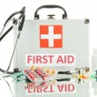 First aid box, isolated on white — Stock Photo
