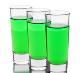 Three glasses of absinthe isolated on white — Stock Photo