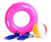 Life ring, inflatable ball, flippers and mask isolated on white — Stock Photo