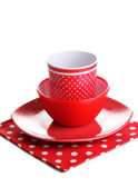 Red tableware isolated on white — Stock Photo
