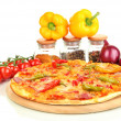 Tasty pepperoni pizza with vegetables on wooden board isolated on white — Stock Photo #15672077