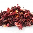 Aromatic Hibiscus tea, isolated on white — Stock Photo