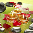 Spa stones with rose petals and candles in water on plate — Stock Photo #15673207