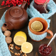 Helpful tea with jam for immunity on wooden table close-up — Stock Photo