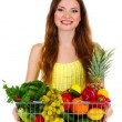 Beautiful woman with healthy food in metal basket isolated on white — Stock Photo