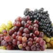 Assortment of ripe sweet grapes isolated on white — Stock Photo