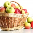 Stock Photo: Juicy apples in basket, isolated on white