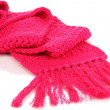 Warm knitted scarf pink isolated on white — Stock Photo #15674617