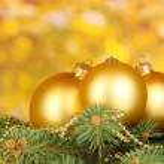 Christmas decoration on yellow background — Stock Photo