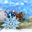 Christmas decoration on blue background — ストック写真