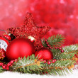 Christmas decoration on red background — Stock Photo #15674907