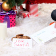Milk, cookies and letter for Santa Claus under Christmas Tree — Stock Photo