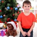 Little boy sits near Christmas tree — Stock Photo #15675553