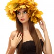 Stock Photo: Beautiful young woman with yellow autumn wreath, isolated on white