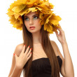 Beautiful young woman with yellow autumn wreath, isolated on white — Stock Photo