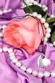 Bella rosa rosa con pendente a cuore — Foto Stock