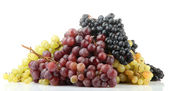 Assortment of ripe sweet grapes isolated on white — Foto de Stock