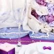 Serving fabulous wedding table in purple color isolated on white — Stock Photo