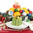 Serving Christmas table on white background - Foto Stock