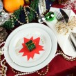 Serving Christmas table close-up - Foto Stock