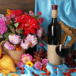 Wonderful autumn still life with fruit and wine — Stock Photo