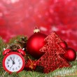 Christmas decoration on red background -  