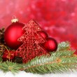 Christmas decoration on red background - Stockfoto