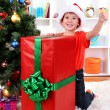 Child in Santa hat near Christmas tree with big gift — Stock Photo #15739129