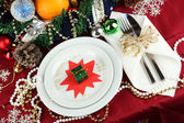Serving Christmas table close-up — ストック写真