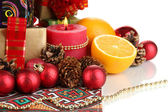 Composition from Christmas decorations isolated on white — Stock Photo