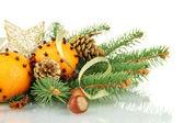 圣诞节的作文与桔子和杉木树,孤立在白色 — 图库照片