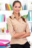 Standing young business woman — Stock Photo