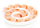 Shrimp on plate isolated on white — Stock Photo