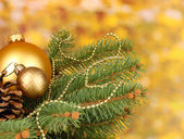 Christmas decoration on yellow background — Photo